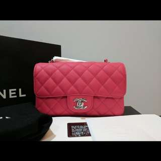 Perfect for CNY & Valentine's! BNIB Authentic Chanel Mini Rectangular in Light Red Caviar Leather and SHW