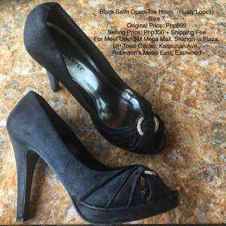 Black Satin Open-Toe Heels