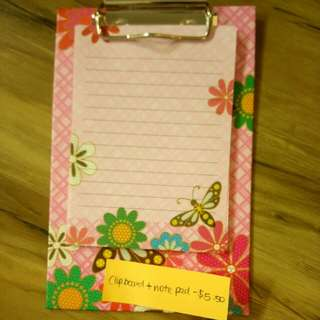 Clip board and note pad