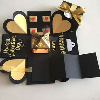 Valentine explosion box with lighthouse, pull tab in black & gold