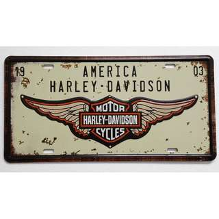 Vintage Reproduction Tin Sign (30.5cm x 15.5cm): America Harley Davidson Motorcycles Advertising Theme