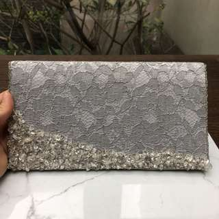 (USED) Silver Jeweled Pouch Bag Clutch