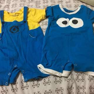 Authentic USS Cookie Monster and minion romper