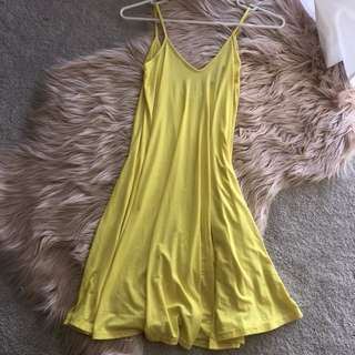 Boohoo yellow swing dress