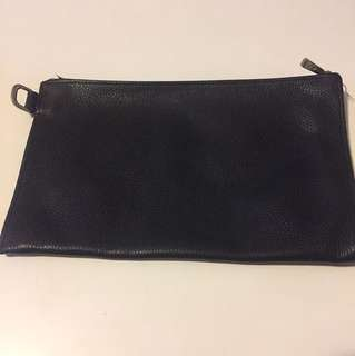 Longchamp Black Zip Wallet Pouch