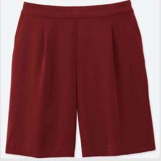 Uniqlo White High Rise Drape Flare Shorts