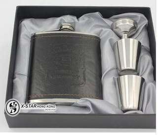 1633597 黑色皮質7盎司酒壺禮盒套裝