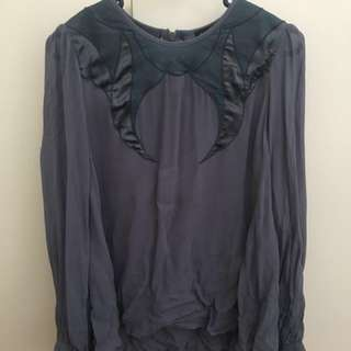 Topshop drapes blue embroidery top rrp $129
