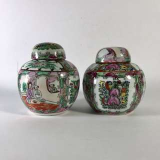 Guang chai porcelain containers 2pcs.