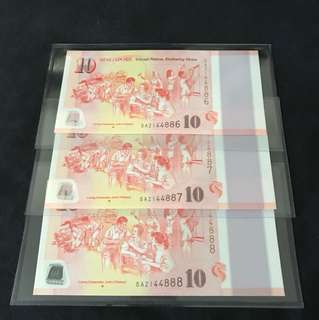 SG50 Commemorative $10 With Lucky Number 3 Run 888