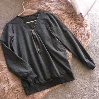 Grey long sleeve with zipper