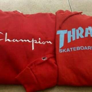 Champion hoodie & thrasher hoodie
