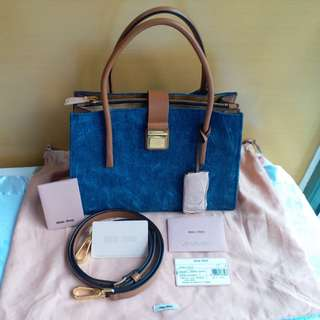Miu Miu Madras leather x 洗水牛仔Denim Handbag