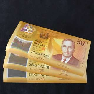 Cia 50th Years Anniversary singapore $50 Commemorative With 3 Run