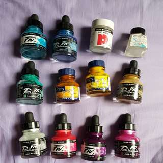 New and old sumi ink, Dr pH Martin, Winsor Newton, Daler Rowney calligraphy inks