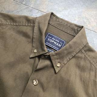 Topman Thick Olive Work Shirt