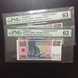 2 Running BCCS $2 ship notes (PMG Graded 63EPQ)