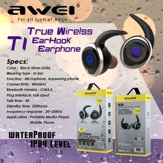 AWEI T1 TWS Twins Stereo In-Ear Headset Earphone Earbuds 無線藍牙耳機 Support Hands-free Calling for Smartphones For iPhone