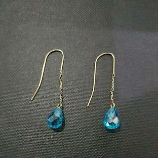 Blue Crystal Gold Chain Drop Earrings