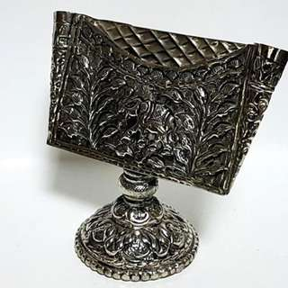 white metal name card holder Antique look