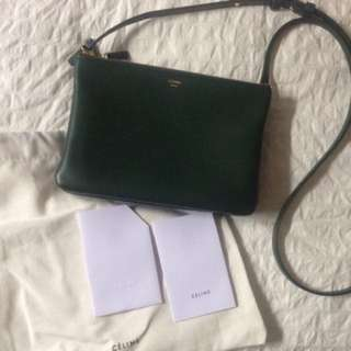 米蘭直送 Celine Trio Dark Green Crossbody Bag Lambskin 手袋 斜咩袋 側咩袋