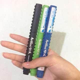 — artline stix brush pens