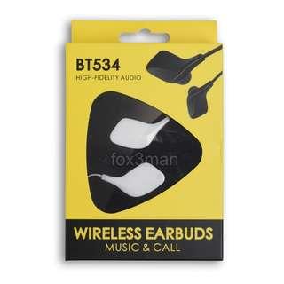 限時清貨 BT534 立體聲 充電 掛頸藍牙音樂耳機 有咪可聽電話 iPhone Android適用 白色