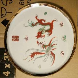 25cm手繪龍鳳茶盤