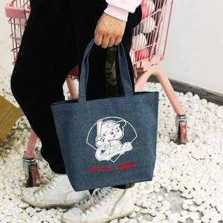 日本雜誌款 牛仔布防水手提購物袋 飯盒袋帶飯袋
