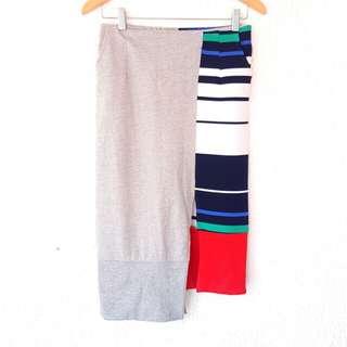 Uneven Hem Split Midi Skirt