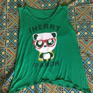 Green, panda shirt (Sando)