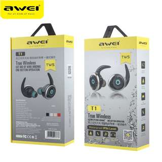 AWEI T1 TWS Twins Stereo In-Ear Headset Earphone Earbuds 無線藍牙耳機 Support Hands-free Calling for Smartphones For iPhone Andriod
