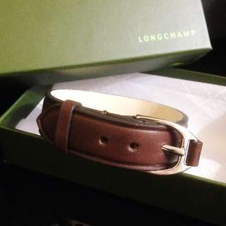 Longchamp咖啡色牛皮手環
