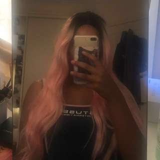 Synthetic lace front black/pink ombré wig