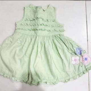 Preloved baby girl green flower dress