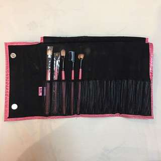 Pink Faux Leather Make Up Brush Holder w/ 5 brushes