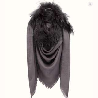 Fendi silk and wool logo shawl with tone-on-tone fur