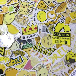Yellow tumblr matte and glossy waterproof stickers for laptop planner luggage || free normal mailing provided