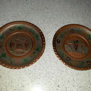 vintage Mesika G & Sons handcrafted copper brass silver plates hanging