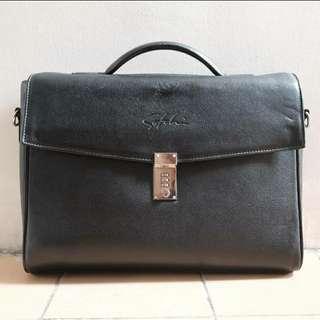 Vintage briefcase quality leather satchi | bally braun buffel pedro fossil zara