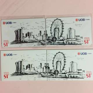 Limited Edition brand new UOB Bank SG51 Set Of 2 nets Flash Pay Cards For $200.
