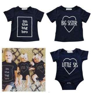 Lil Sis Big Bro Big Sister Romper/T-Shirt