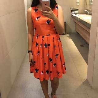 Bird print orange/red dress