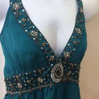 Brand New 100% silk emerald green embellished Sportsgirl halterneck top