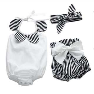 Kids ootd baby fashion romper with shorts and headdress toddlers 12-24m