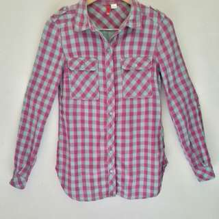 H&M / H and M tartan long sleeved shirt