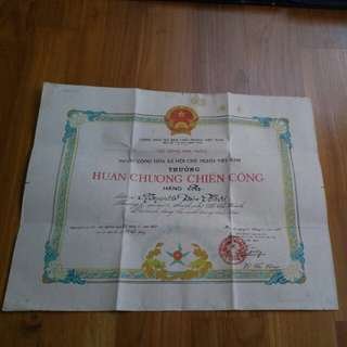 1987 Vietnamese Victory Medal Citation Certificate & Medal
