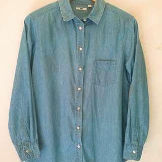 Uniqlo denim long sleeved shirt