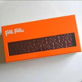全新 Folli Follie 亮身酒紅色 心心長型銀包 Brand New Folli Follie Wine Red Heart Long Wallet