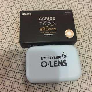 韓國月帶 o-lens caribe 3 con brown colour con